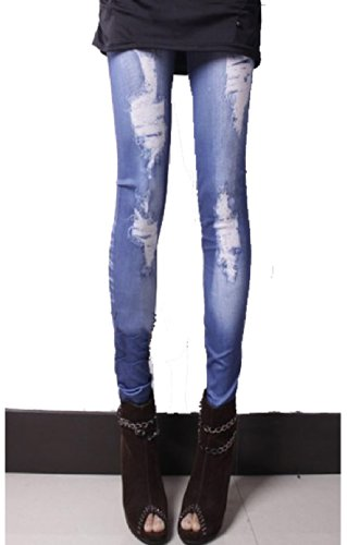 LSWA Destressed Jeans Leggings in Röhr Hose Jeans destroy Tattoo Look Wasch Effekt