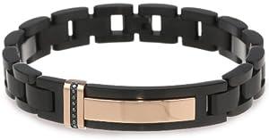 Men's 0.10 CtwBlack Diamond Stainless Steel Black and Rose Id Bracelet, 8.75