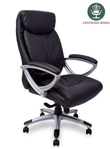 Chefsessel Kings - Schwarz Silber Echtes Leder - Das Original - Bürostuhl Schreibtischstuhl Drehstuhl Sessel Stuhl PokerStuhl Casinostuhl Gamerstuhl