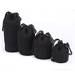 (4 Pack) Charm & Magic Neoprene Soft Pouch Case for DSLR Camera Lens (Canon, Nikon, Pentax, Sony, Olympus, Panasonic) - Includes: Small, Medium, Large and Extra Large Pouches