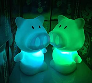 Pig Long Nose Shape 7 Color Change Decoration LED Night Lamp from Viskey