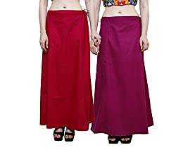 JUST CLIKK COMBO OF PETTICOATS FOR WOMENS PACK OF 2 , COTTON SOLID PLAIN