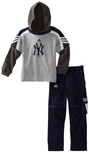 Mlb Toddler New York Yankees Hooded Layer Top & Pant Set (Heather Grey, 2T) front-1062159