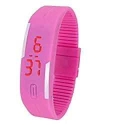 LED Designer Unisex pufaux silicon PNK band Digital casual leisure sports easy Boys Girls Teenagers Wrist Watch + with free earphone