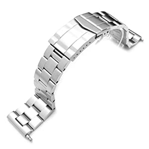 22mm Super Oyster Solid 316L Stainless Steel Watch Bracelet, Submariner Clasp, Straight End