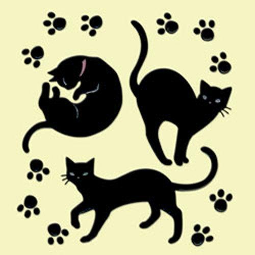 611b 黒ネコ 足迹(b) 611b黑色的猫脚印(b) 摩西摩西