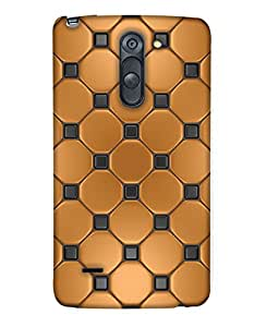 PrintHaat Designer Back Case Cover for LG G3 Stylus :: LG G3 Stylus D690N :: LG G3 Stylus D690  (golden and black texture :: decorative design :: golden circle surrounded by black dots)