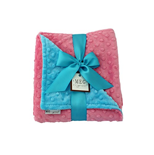 MEG Original Minky Dot Baby Girl Blanket, Paris Pink & Turquoise