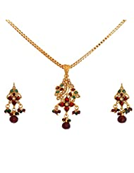 Divaz Bridal Red And Gold Color Necklace Set With Earring For Women - B00V521UQA
