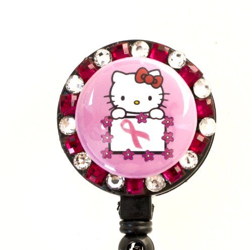 Pink Ribbon/Breast Cancer Flower Lined Hello Kitty Rhinestone Retractable Badge Reel/ ID Badge Holder