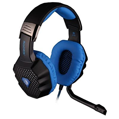 ShengTu [The new Sades A70] Stereo Headphone Gaming Headset with Microphone 50mm Driver 7.1 Surround Sound USB Plug Mic for PC Laptop(Black / blue)