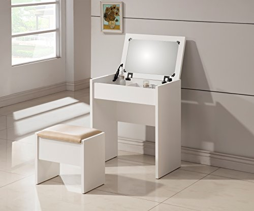 Buy Discount 3-Piece Metal Make-Up Heart Mirror Vanity Dresser Table and Beige Stool Set, White