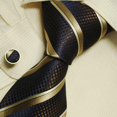 Gold Stripes Tie For Men Brown Dots Birthday Present Man Silk Neckties Cuff Links Set A2046