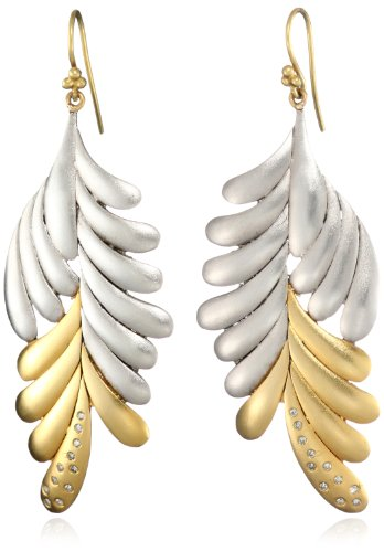 Lauren Harper Collection Mirage 18k Gold, Rhodium Plated Silver and Diamond Leaf Earrings