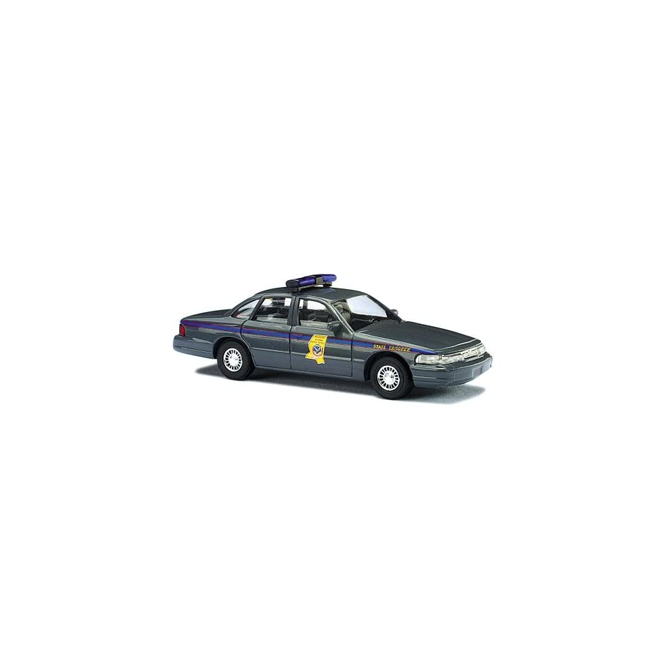 BUSCH, DIE CAST MODEL, HO SCALE, 1/87, FORD CROWN VICTORIA, W/MISSISSIPPI STATE POLICE MARKINGS, GREY