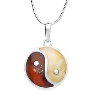 InCollections Damen-Halskette Yin und Yang 925 Sterling Silber 2 Bernsteine mehrfarbig 42 cm 0021200020190