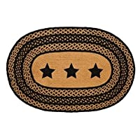 Country Style Black Tan Jute Rug Oval Stencil Stars 24x36