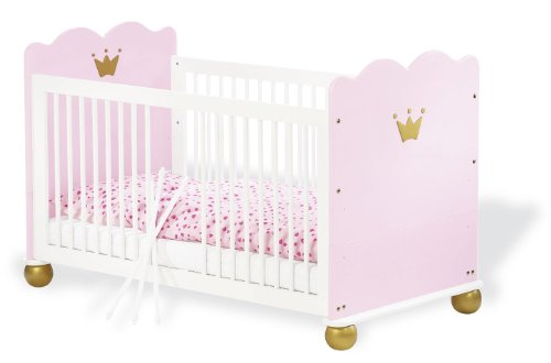 Pinolino-111655-Kinderbett-Prinzessin-Karolin-Babybett-aus-massiver-Fichte-140-x-70-cm-mit-3-Schlupfsprossen