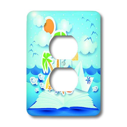 Lsp_167258_6 Spiritualawakenings_Beach - Beach Tropical Book Pop Up Art With Sun, Star Fish, Seagulls - Light Switch Covers - 2 Plug Outlet Cover