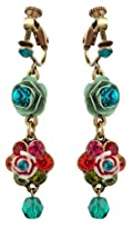 Michal Negrin Vintage Style Attractive Dangle Earrings Beautifully Crafted with Flowers and Roses, Accented with Turquoise and Multicolor Swarovski Crystals and Glass Beads