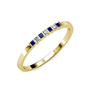 Blue Sapphire and Diamond (SI1-SI2, G-H) 7 Stone Wedding Band 0.37 ct tw in 14K Yellow Gold.size 7.0