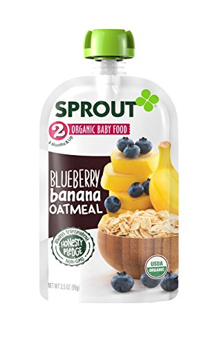 Sprout Organic Baby Food Stage 2 Pouches, Blueberry Banana Oatmeal, 3.5 Ounce (Pack of 6)