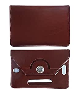 Fastway 8 Inch Rotate Tablet Book Cover For Alcatel Pixi 8 Android Tab-Brown