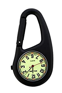 Black Clip on Carabiner FOB Watch Luminous Green Dial Ideal for Doctors Nurses Paramedics Chefs