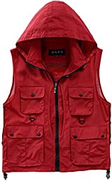 Alipolo New Outdoor Casual Quick-drying Extra Pockets Fishing Vest Red US M/Label M