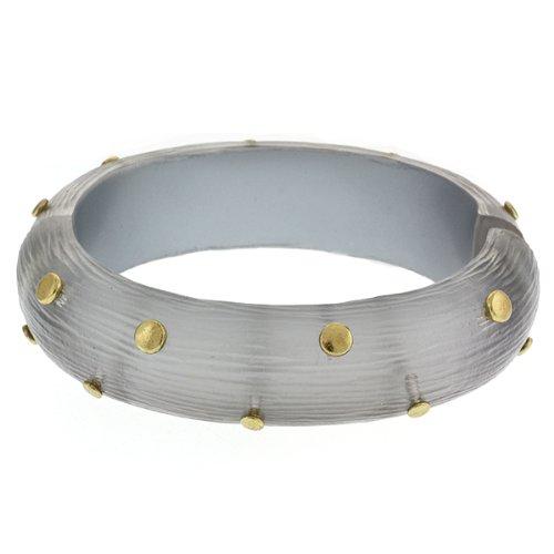 Resin Side Magnetic Hinge Closure Studded Gold Cuff Bangle Bracelet