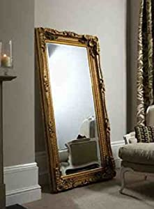 6ft X 3ft 175x89cm Large Gold Decorative Antique Style Wall Mirror New Rectangle