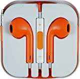 Apple iPod iPad iPhone 5 5S 5C 5G Earphones Ear Pods Headphones with Remote Mic & Volume Controls and compatible with Samsung S4 and Android Phones (ORANGE)