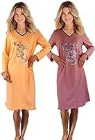 2er Packung Damen Langarm Nachthemd