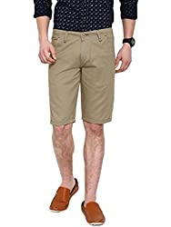 Showoff Men's Beige Slim Fit Solid Casual Chino Shorts