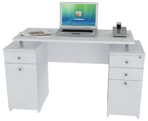 Inval ES 3203 Laura Collection Computer Desk (Small Glass Desk With Drawers compare prices)