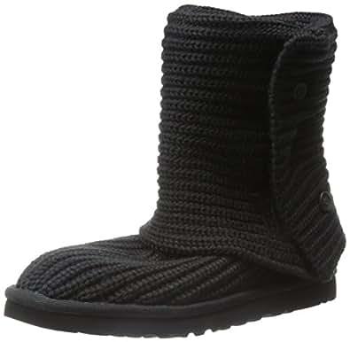 UGG Australia Women's Classic Cardy Knit Sheepskin Fashion Boot Black 5 M US