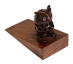 Store Indya Handcrafted Door Stopper Owl Shaped Rosewood Wooden Furniture Accessories Holder Hardware Knobs Floor Blocker Closers Jammer
