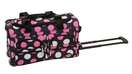 Rockland Luggage Rolling 22 Inch Duffle Bag, Multiple Pink Dot, One Size