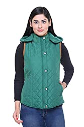 Trufit Sleeveless Solid Women's Green Quilted Removable Hood Polar Fleece Lining side Rib Polyetser Bomber Polyfill jacket
