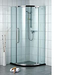 Caesar Bath Frameless Neo Round Tempered Glass Corner Shower Enclosure 36 Quo