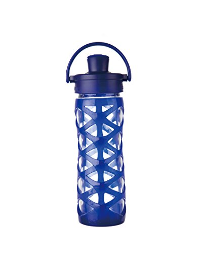 Lifefactory BPA-Free Glass Water Bottle with Active Flip Cap & Silicone Sleeve, 16 oz, Sapphire (Lifefactory Water Bottle Flip Top compare prices)