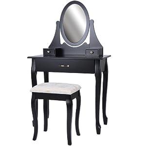 Coiffeuse noir avec tabouret tiroir et miroir pivotant 130 5 x 80 x 40 c - Meuble coiffeuse noir ...