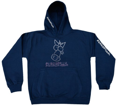 Funky Filly Pony Girls 'Sparkly Horse Head' Diamante Hoodie Sweatshirt Navy Blue Childrens Ages 1 - 12 years, Adult Sizes S, M, L, XL, XXL