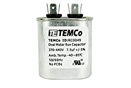 TEMCo Motor Run Capacitor RC0049 - 7.5 mfd uf 370/440 V VAC volt 7.5 uf Oval HVAC TEMCo AC Electric