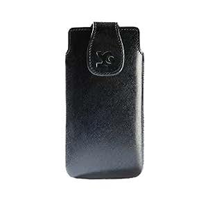 Suncase Original Echt Ledertasche für HTC Desire X (Hülle mit Magnetverschluss) in glatt-schwarz