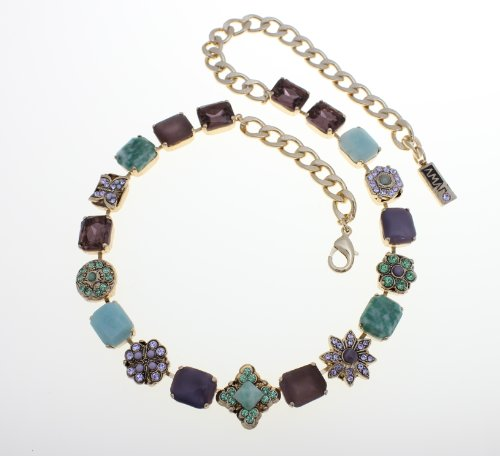 Amaro Jewelry Studio 'Spring Vibration' Collection 24K Rose Gold Plated Necklace Set with Flower and Star Elements, Rainbow Fluorite, Labradorite, Cape Amethyst, Amethyst, Amazonite and Swarovski Crystals