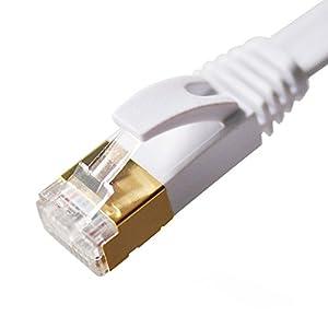 Vandesail ® Cat7 Câble Ethernet RJ45 Plaquée Or Câble Raccordement Ethernet Réseau- Qualité Professionnelle -Câble Patch / Ethernet / Modem / Routeur / LAN (10m, Blanc Oblat)