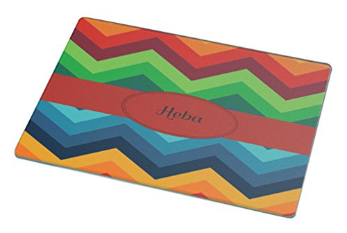 Rikki KnightTM Heba Name on Fall Colors Chunky Chevron Small glass Cutting board