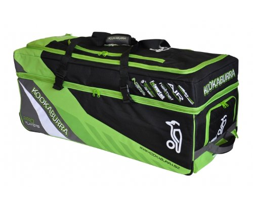 Kookaburra 2013 Pro Players Cricket Wheelie Bag - Black/Lime, 1000mm x 400mm x 400mm