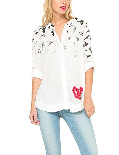 Desigual NEW-Camicia Donna, Bianco (TIZA 1010), S